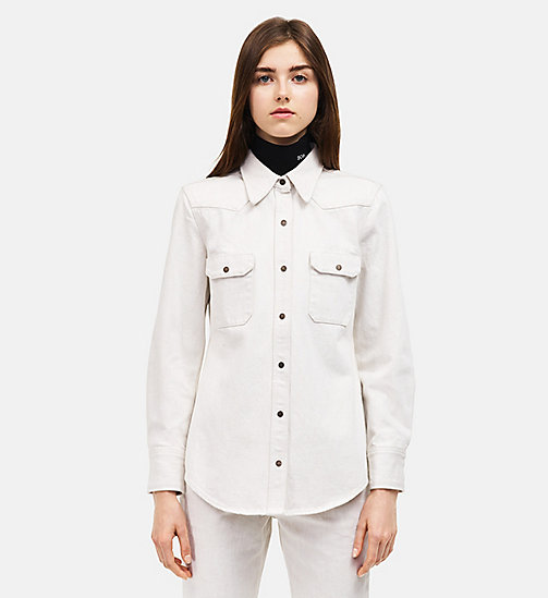 CALVINKLEIN Oversized Western Denim Shirt - WHITE - CALVIN KLEIN WOMEN - main image