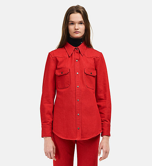 CALVINKLEIN Oversized Western Denim Shirt - RED - CALVIN KLEIN WOMEN - main image