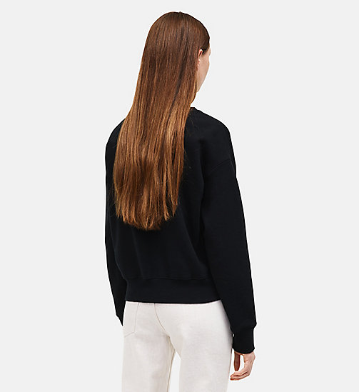 CALVINKLEIN French Terry Crew Neck Sweatshirt - BLACK - CALVIN KLEIN WOMEN - detail image 1