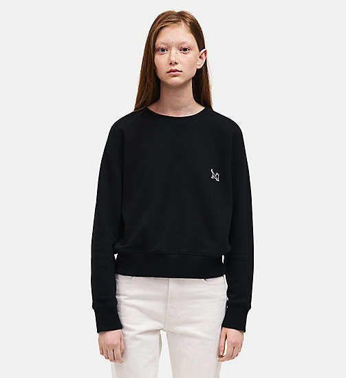 CALVINKLEIN French Terry Crew Neck Sweatshirt - BLACK - CALVIN KLEIN WOMEN - main image