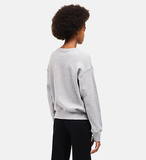 CALVINKLEIN French Terry Crew Neck Sweatshirt - HEATHER GREY - CALVIN KLEIN WOMEN - detail image 1