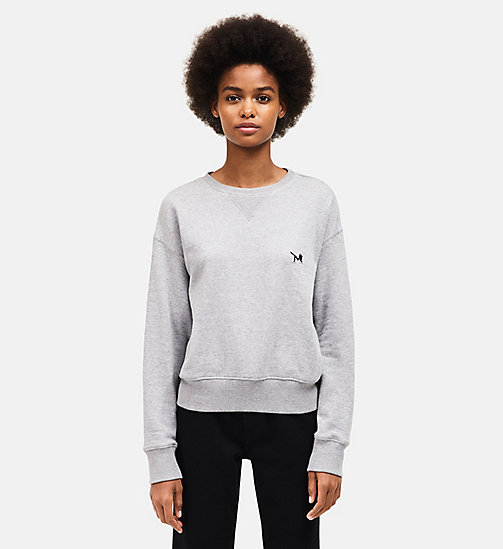 CALVINKLEIN French Terry Crew Neck Sweatshirt - HEATHER GREY - CALVIN KLEIN WOMEN - main image