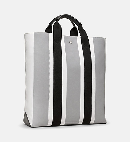 CALVINKLEIN Striped Jacquard Shopper Tote Bag - WHITE GREY BLACK - CALVIN KLEIN SHOES & ACCESSORIES - detail image 1