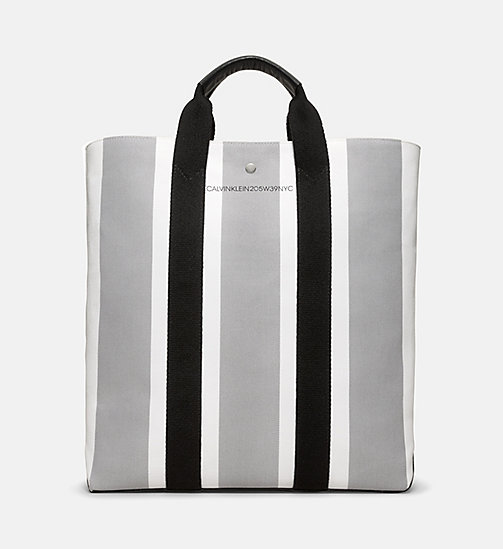 CALVINKLEIN Striped Jacquard Shopper Tote Bag - WHITE GREY BLACK - CALVIN KLEIN SHOES & ACCESSORIES - main image