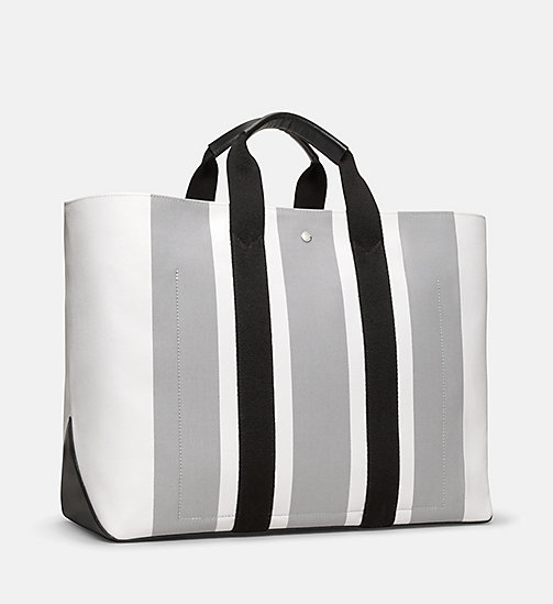 CALVINKLEIN Striped Jacquard Large Tote Bag - WHITE GREY BLACK - CALVIN KLEIN MEN - detail image 1