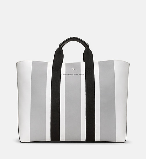 CALVIN KLEIN Striped Jacquard Large Tote Bag - WHITE GREY BLACK - CALVIN KLEIN BAGS - main image