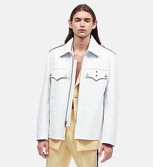 CALVIN KLEIN Oversized Policeman Leather Jacket - WHITE - CALVIN KLEIN MEN - main image