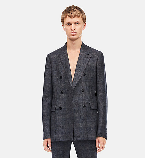 CALVIN KLEIN Tailored Fit Double Breasted Sport Coat - GREY BLACK GRENADINE - CALVIN KLEIN CLOTHES - detail image 1