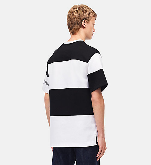 CALVINKLEIN Embroidered Stripe T-shirt - WHITE BLACK - CALVIN KLEIN MEN - detail image 1