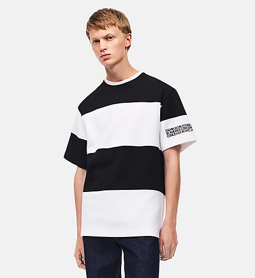 CALVIN KLEIN Embroidered Stripe T-shirt - WHITE BLACK - CALVIN KLEIN MEN - main image