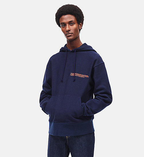 CALVIN KLEIN Boxy Embroidered Hooded Sweatshirt - MARINE - CALVIN KLEIN CLOTHES - detail image 1