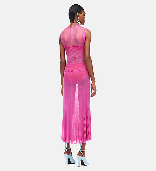 CALVINKLEIN Smock Knit Ruched Sleeveless Dress - FUCHSIA BEGONIA BEGONIA - CALVIN KLEIN CLOTHES - detail image 1