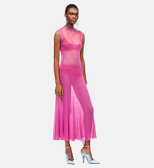 CALVIN KLEIN Smock Knit Ruched Sleeveless Dress - FUCHSIA BEGONIA BEGONIA - CALVIN KLEIN SALE - detail image 1