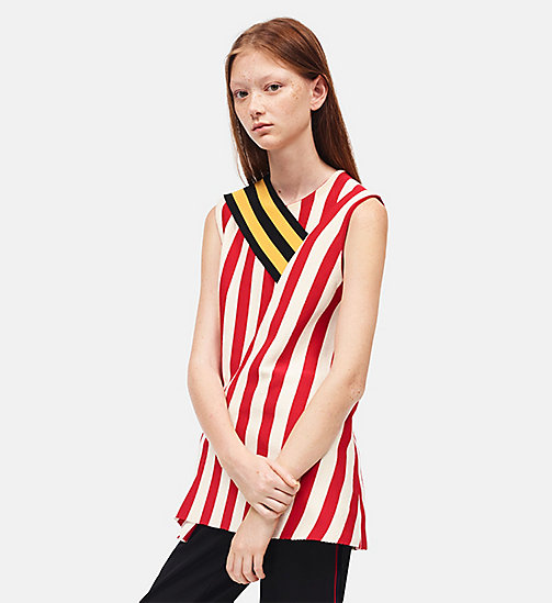 CALVIN KLEIN Striped Sleeveless Top - IVORY RED - CALVIN KLEIN SALE - detail image 1