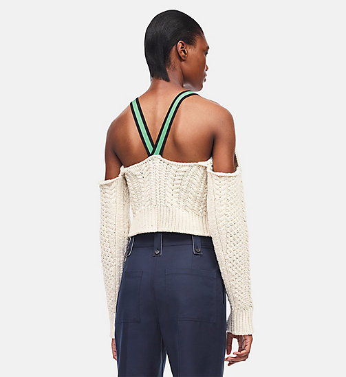 CALVINKLEIN Cable Knit Cropped Sweater - OFF WHITE - CALVIN KLEIN CLOTHES - detail image 1