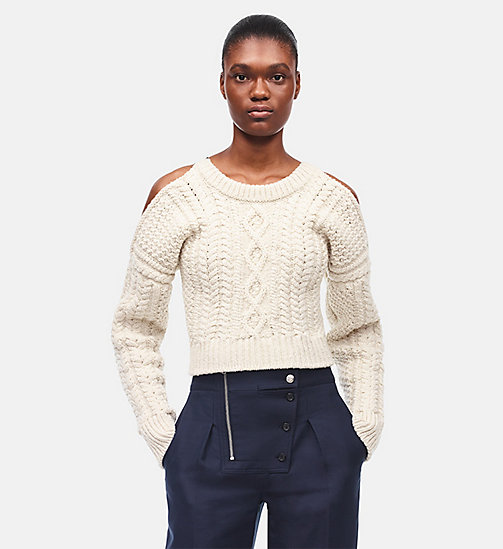 CALVIN KLEIN Cable Knit Cropped Sweater - OFF WHITE - CALVIN KLEIN WOMEN - detail image 1