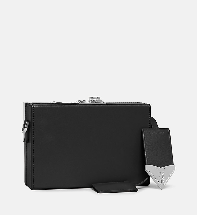 CALVINKLEIN Leather Mini Box Clutch - WHITE - CALVIN KLEIN WOMEN - detail image 1