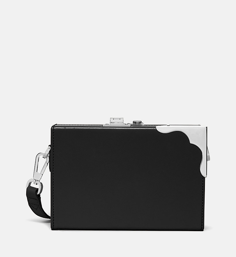 CALVINKLEIN Leather Mini Box Clutch - WHITE - CALVIN KLEIN WOMEN - main image