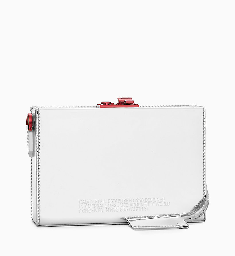 205W39NYC Mini Box Clutch in Metallic Leather - WHITE - 205W39NYC WOMEN - detail image 1