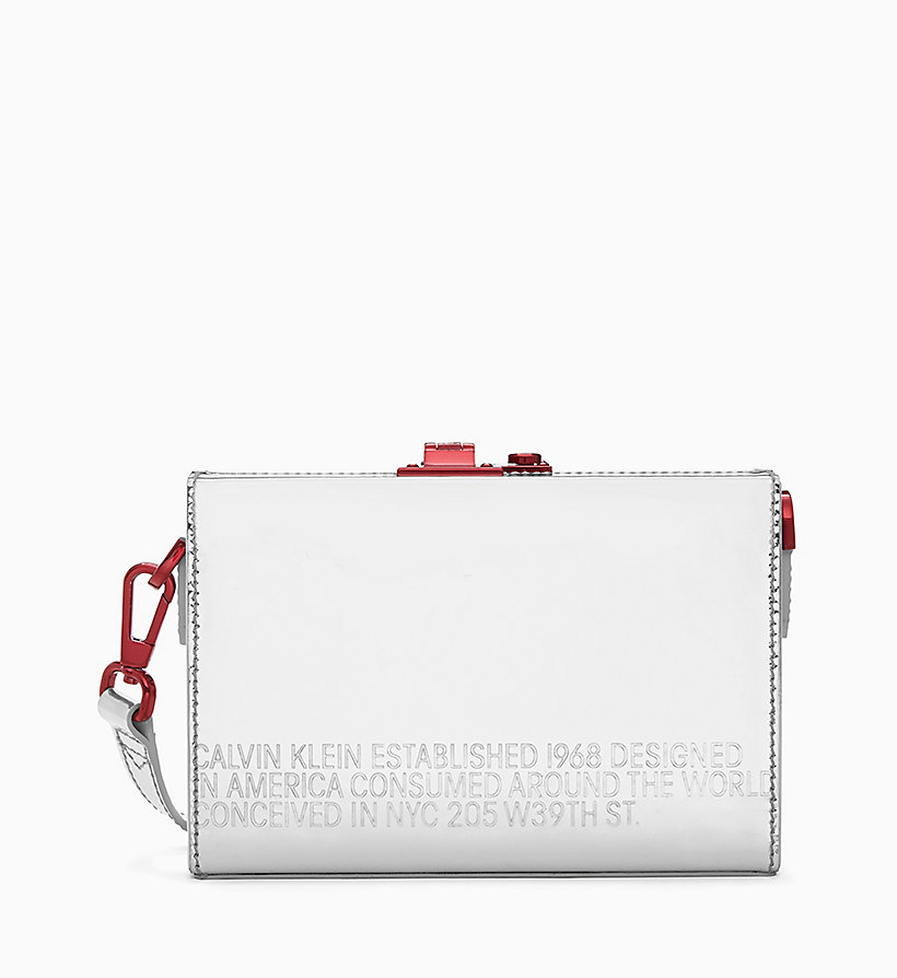 205W39NYC Mini Box Clutch in Metallic Leather - WHITE - 205W39NYC WOMEN - main image