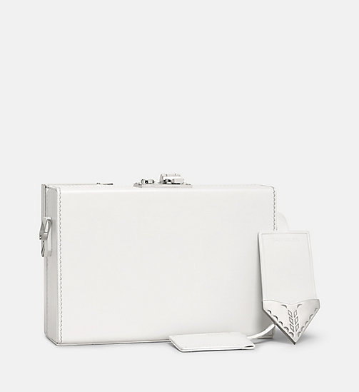 CALVINKLEIN Leather Mini Box Clutch - WHITE - CALVIN KLEIN SHOES & ACCESSORIES - detail image 1