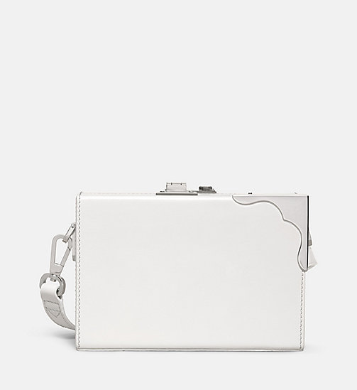 CALVINKLEIN Leather Mini Box Clutch - WHITE - CALVIN KLEIN SHOES & ACCESSORIES - main image