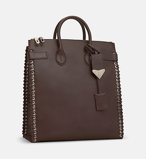CALVINKLEIN Whip Stitch Leather Tote Bag - BORDEAUX - CALVIN KLEIN SHOES & ACCESSORIES - detail image 1