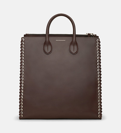CALVINKLEIN Whip Stitch Leather Tote Bag - BORDEAUX - CALVIN KLEIN SHOES & ACCESSORIES - main image
