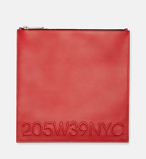 CALVIN KLEIN Calf Leather Pouch - RED - CALVIN KLEIN SALE - detail image 1