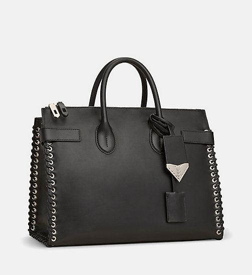 CALVINKLEIN Whip Stitch Leather Tote Bag - BLACK - CALVIN KLEIN SHOES & ACCESSORIES - detail image 1