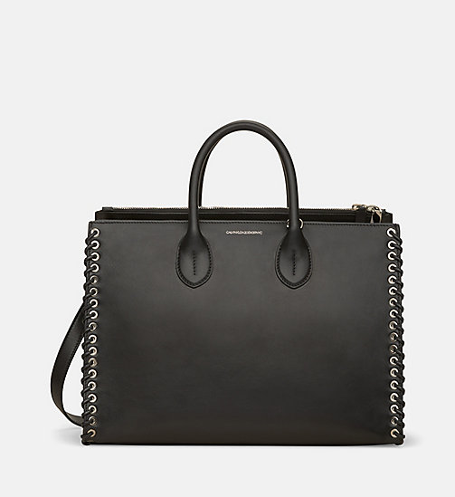 CALVINKLEIN Whip Stitch Leather Tote Bag - BLACK - CALVIN KLEIN SHOES & ACCESSORIES - main image
