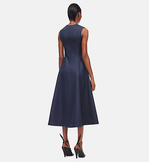CALVINKLEIN Silk Cotton Flared Dress - NAVY - CALVIN KLEIN CLOTHES - detail image 1