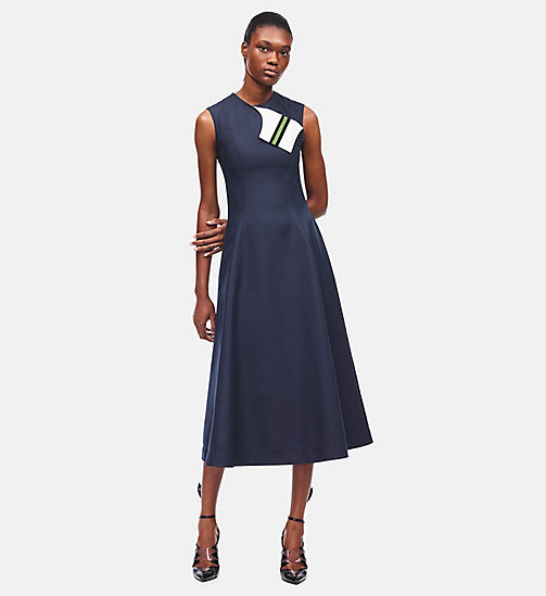 CALVIN KLEIN Silk Cotton Flared Dress - NAVY - CALVIN KLEIN CLOTHES - main image
