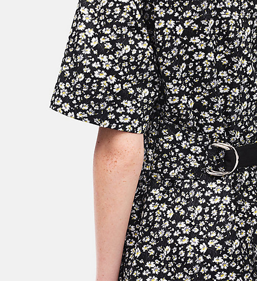 CALVIN KLEIN Floral Short Sleeve T-shirt Dress - BLACK WHITE YELLOW - CALVIN KLEIN SALE - detail image 1