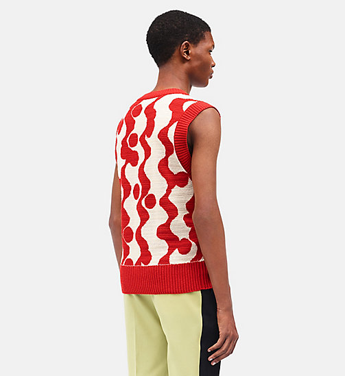 CALVINKLEIN Wave Intarsia Sleeveless Jumper - ECRU RED - CALVIN KLEIN CLOTHES - detail image 1