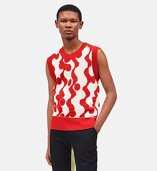 CALVINKLEIN Wave Intarsia Sleeveless Jumper - ECRU RED - CALVIN KLEIN CLOTHES - main image