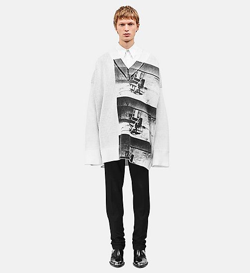 CALVINKLEIN Pull oversize Little Electric Chair - WHITE/BLACK - CALVIN KLEIN VÊTEMENTS - image principale