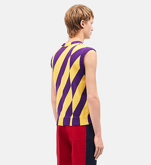 CALVINKLEIN Diagonal Stripes Sleeveless Jumper - YELLOW DARK VIOLET - CALVIN KLEIN CLOTHES - detail image 1