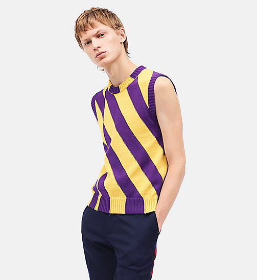 CALVINKLEIN Diagonal Stripes Sleeveless Jumper - YELLOW DARK VIOLET - CALVIN KLEIN CLOTHES - main image