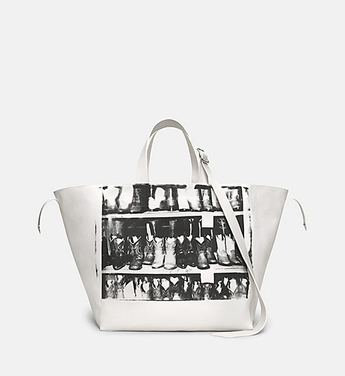 CALVINKLEIN Cowboy Boots Tote Bag - WHITE/BLACK - CALVIN KLEIN SHOES & ACCESSORIES - main image
