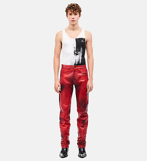 CALVIN KLEIN Leather Jeans - FIRE RED BURNT RUSSETT - CALVIN KLEIN CLOTHES - main image