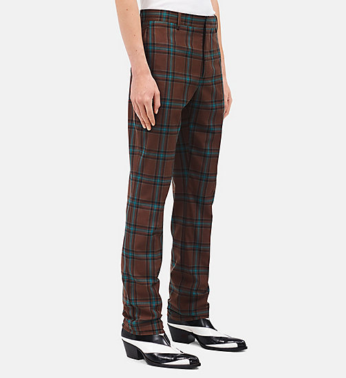 CALVINKLEIN Slim Trousers In Tartan Merino Wool - CHESTNUT BROWN TEAL - CALVIN KLEIN CLOTHES - detail image 1