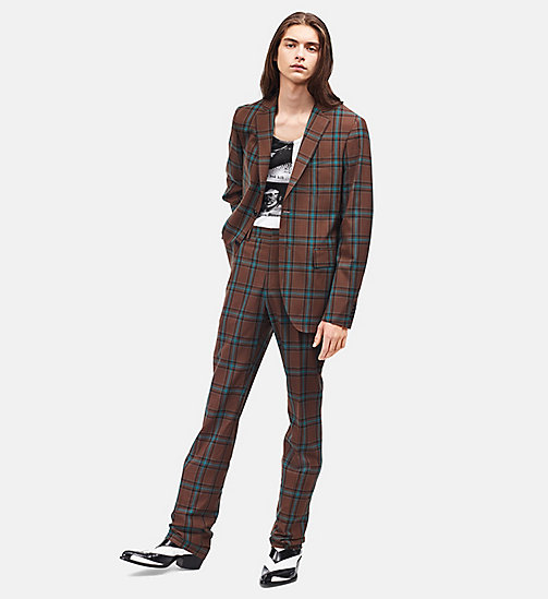 CALVIN KLEIN Slim Trousers In Tartan Merino Wool - CHESTNUT BROWN TEAL - CALVIN KLEIN MEN - main image
