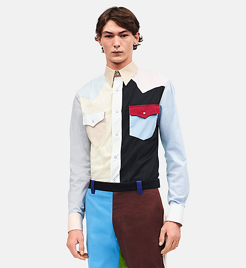 CALVINKLEIN Colour Block Western Shirt - PALE YELLOW BLACK - CALVIN KLEIN CLOTHES - main image