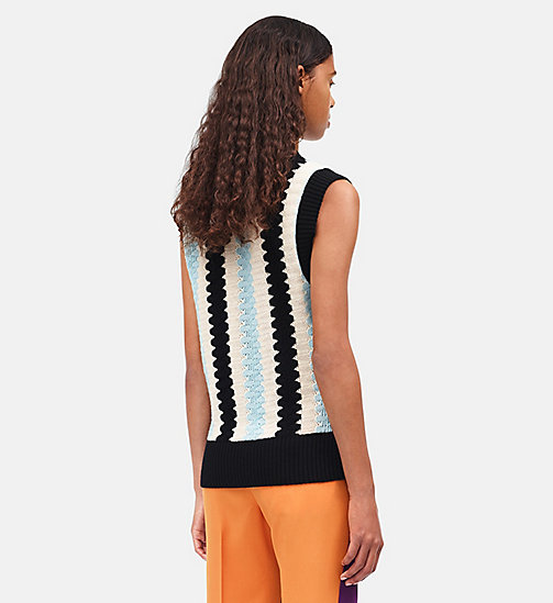 CALVINKLEIN Wave Intarsia Knit Top - ECRU AQUA BLACK - CALVIN KLEIN CLOTHES - detail image 1
