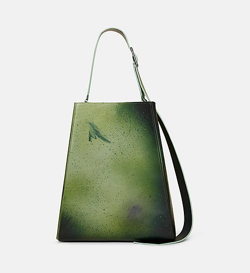 CALVINKLEIN Large Distressed Leather Bucket Bag - GREEN - CALVIN KLEIN SHOES & ACCESSORIES - detail image 1
