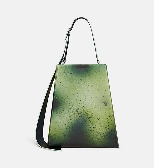 CALVINKLEIN Large Distressed Leather Bucket Bag - GREEN - CALVIN KLEIN SHOES & ACCESSORIES - main image