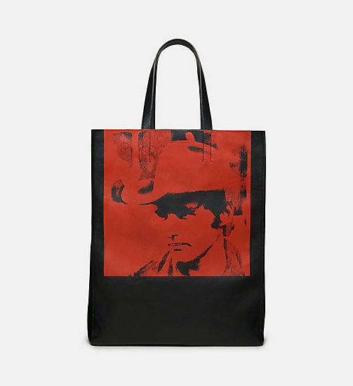 CALVINKLEIN Dennis Hopper Nappa Leather Tote - BLACK/RED - CALVIN KLEIN SHOES & ACCESSORIES - main image