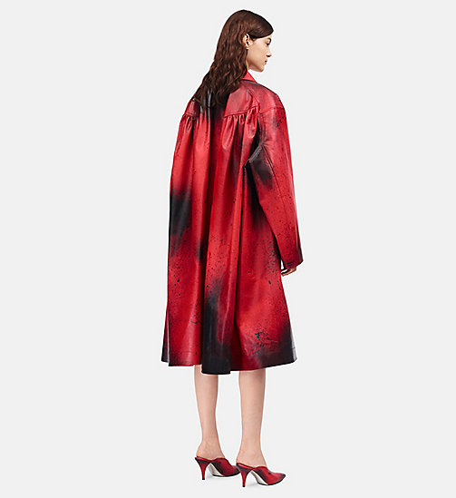 CALVINKLEIN Leather Oversized Couture Coat - FIRE RED BURNT RUSSETT - CALVIN KLEIN CLOTHES - detail image 1