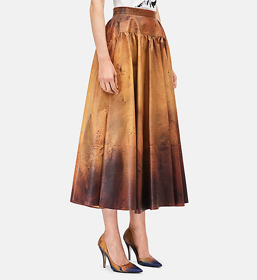 CALVINKLEIN Distressed Leather Flared Skirt - AMBER BLACK - CALVIN KLEIN CLOTHES - detail image 1
